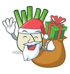 Santa with gift fennel mascot cartoon style vector