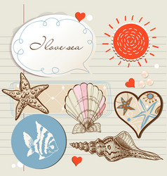sea and marine life design elements vector image