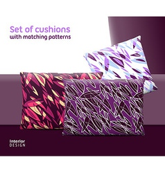 Set of cushions and pillows with matching seamless vector image