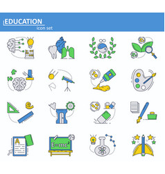 set of school and college education icons vector image