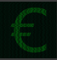 Silhouette of euro symbol from binary digits vector