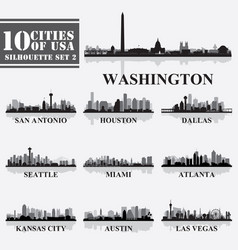 silhouettes cities usa set 2 in grayscale vector image