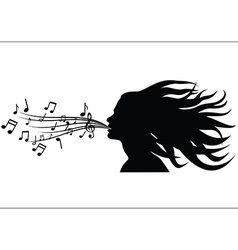 Sing woman silhouette vector