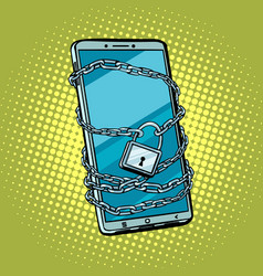 smartphone chain lock locked gadget protected vector image
