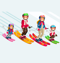 Snow skiing people family set vector