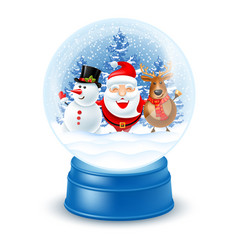 Snowglobe with santa claus snowman and reindeer vector