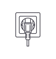 socket line icon concept socket linear vector image