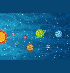 solar system in space vector image