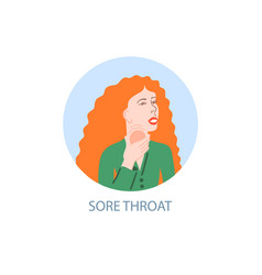 sore throat - symptom coronavirus hand drawing vector image