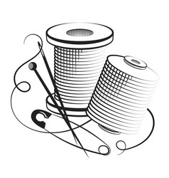Spools of thread for sewing vector