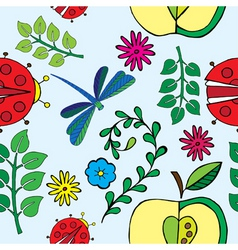 Spring florals and bugs print vector
