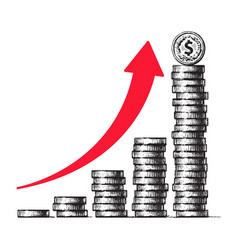 Stacks coins with dollar sign coin on top vector