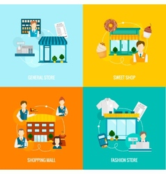 Store building flat set vector image