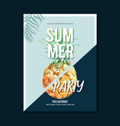 Summer poster design holiday party on beach vector