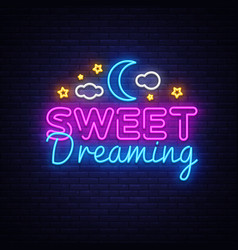 Sweet dreaming neon sign sweet dreaming vector