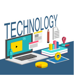 technology laptop chart white background im vector image