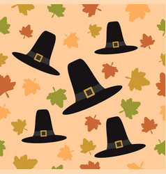 Thanksgiving seamless background with pilgrim hat vector