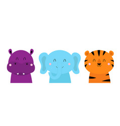 Tiger elephant hippopotamus cute animal icon set vector