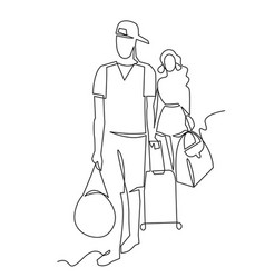 Tourists continuous one line drawing two vector