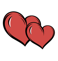two hearts icon cartoon vector image