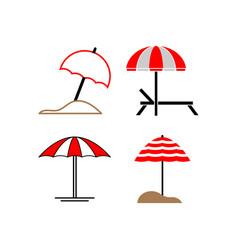 umbrella beach icon set design template vector image