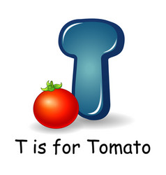 vegetables alphabet t is for tomato vector image