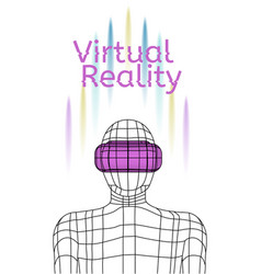 virtual reality poster man wearing vr headset vector image