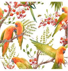 Watercolor tropical parrots pattern vector