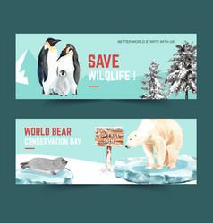 Winter animal banner design with penguin sea lion vector