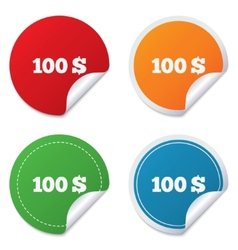 100 Dollars sign icon USD currency symbol vector image vector image