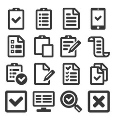 checklist survey icon set on white background vector image