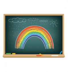 drawing rainbow by a chalk vector image
