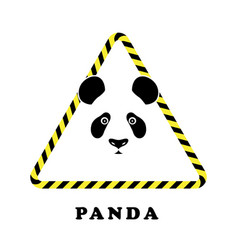 Icon head panda in a triangle tape danger vector