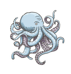 Octopus vintage isolated on vector