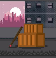 pixelated city videogame scenery vector image