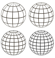 set 3d ball globe model of the earth sphere vector image
