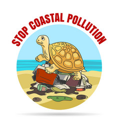 stop coastial pollution ecology emblem vector image vector image