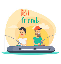 Best friends go fishing together vector