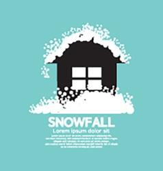 Heavy snowfall on home vector