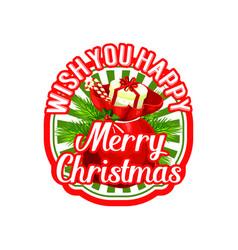 merry christmas santa gift bag holiday icon vector image vector image