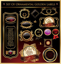 set of ornamental golden labels and medallions vector image vector image