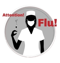 Silhouette of nurse warning about epidemic of flu vector image