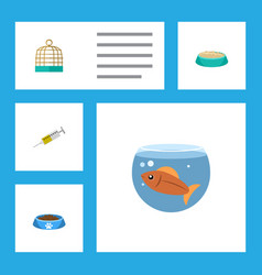 flat icon animal set of fishbowl cat eatin vector image vector image