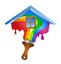 house and brush with paint vector image