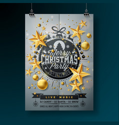 merry christmas party design with holiday vector image