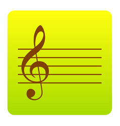 music violin clef sign g-clef brown icon vector image vector image