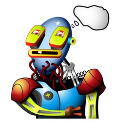 robot needs recharging vector image