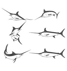 Set of monochrome marlins vector image