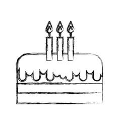 Sketch draw birthday cake cartoon vector