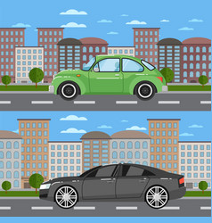 vintage car and comfortable sedan in cityscape vector image